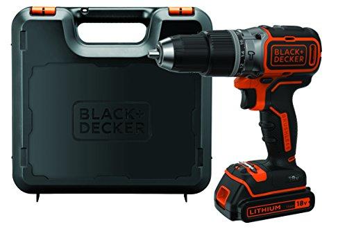 Black+Decker Akku-Schlagbohrschrauber (18 V 1,5Ah, mit bürstenlosem 2-Gang-Getriebe, LED-Arbeitslicht, Anti-Rutsch-Softgriff, 1 Stück) BL188K