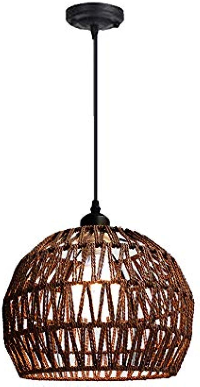 Hanfseil-Leuchter, europisches Persnlichkeits-Restaurant-hngende Lampe Einfacher gesponnener Ball-Deckenleuchte-Garten-Art-kreatives Wohnzimmer-Esszimmer-hngende helle braun-   hlzerne Farbbeleuc