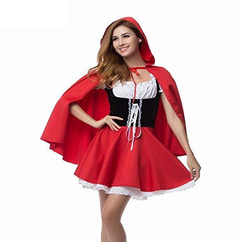 Ropa De Dormir para Mujer Disfraz De Caperucita Roja Fancy Adult Hallowen Dressing Fantasia Feminina Disfraces De Navidad Tallas Grandes 6XL - Red_5XL