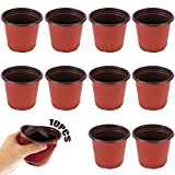 Jardinera Transpirable 10 Piezas Iniciador de Semillas Maceteros de plástico Macetas Redondas de plástico Maceteros Redondos de plástico Maceta de plástico para plántulas esquejes Plantas Verduras