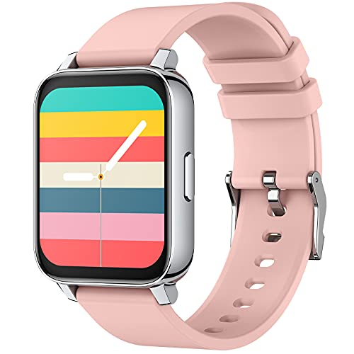 EIGIIS Smart Watch for Android Phones Compatible with iPhone Smart fitness watches for Women Men Fitness Tracker Heart Rate Monitor Sleep Monitor Step Counter (Pink)