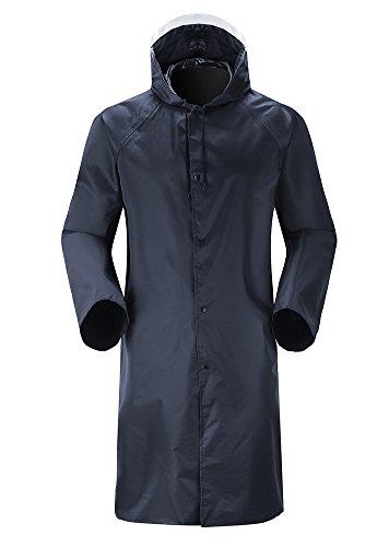 Insun Adultes Manteau de Pluie Manteau Long imperméable à Capuche Veste Pluie avec Bandes Réfléchissantes Haute Visibilité Bleu Marine XL
