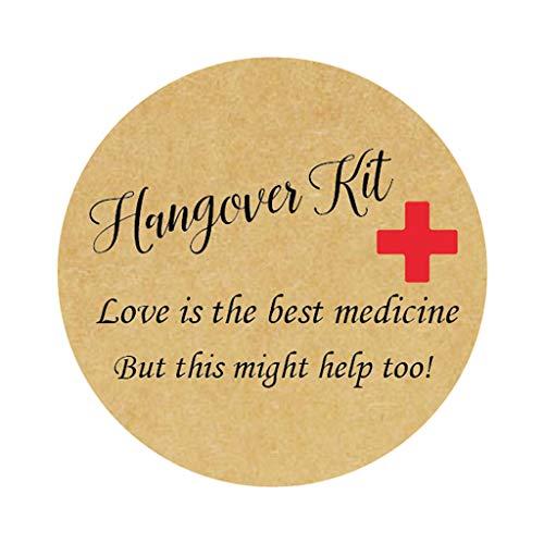 48x Rotes Kreuz Hangover Kit Sticker - Love is the best medicine Aufkleber - 40mm Funny Party Kater Kit Etiketten für Gastgeschenke zur Hochzeit,Geburtstag,Bachelorette Party Survival Kit - UNI 312