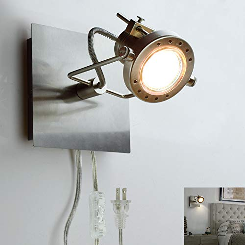 DLLT Led Ceiling Spotlight, Adjustable Wall Mount Lamp, Plug-in Track Light Kit Lighting for Bedside, Headboard Picture, Bedroom, Kitchen, Living Room,Warm White