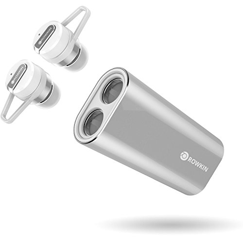 Rowkin Bit Charge Single: True Wireless Earbud w/Charging Case. Bluetooth Headphone, Smallest Cordless Hands-free Mini Earphone Headset w/Mic for Android and iPhone (BUY 2 for Stereo Sound) - Silver
