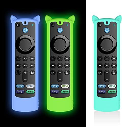 AIYAAIYA 3 PZ Custodia Protettiva per telecomando Vocale Alexa (3rd Gen) 2021, Custodia in Silicone per telecomando Fire TV Stick 4K con Corda Anti-Perdita (Bagliore Blu+Bagliore Verde+Blu Ghiaccio)