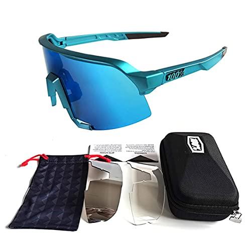 Petrichori Gafas de Sol para Ciclismo Gafas de Sol para Bicicleta de Alta definición Gafas de Sol Gafas para Bicicleta al Aire Libre Gafas Accesorios para Bicicleta - Azul 145X62X140Mm