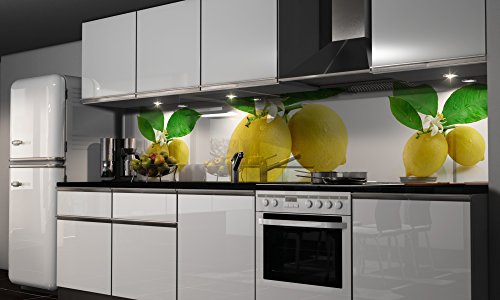 Küchenrückwand-Folie Zitronen Klebefolie Spritzschutz Küche Fliesenspiegel Möbel Rückwand selbstklebend | mehrere Größen | DIY