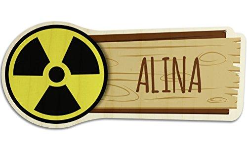 printplanet Türschild aus Holz mit Namen Alina - Motiv Radioaktiv - Namensschild, Holzschild, Kinderzimmer-Schild
