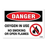 Danger: Oxygen in Use No Smoking, 3.5' high x 5' wide, Black/Red on White, Self Adhesive Vinyl Sticker, Indoor and Outdoor Use, Rust Free, UV Protected, Waterproof