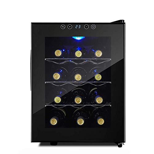 Refrigerador de Vino-Refrigerador de Vino, Enfriador, 12 Botellas, táctil, 39 Db en Funcionamiento, Puerta de Vidrio, Ajuste de 50 a 64 ° F, Bodega compacta   3 estantes de Acero Inoxidable