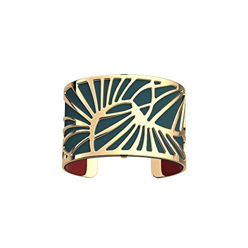 Les Georgettes - Bundle - Armreif Gold 40mm Palmeraie Palmenhain inkl. Ledereinsatz Petrol Blau/Himbeer Rot