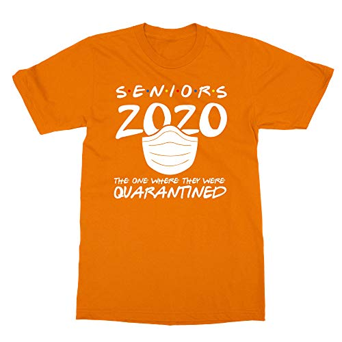 Sheki Apparel Coronavirus 2020 Quarantined Seniors Covid 19 Humor Men's T-Shirt (Orange, Large)
