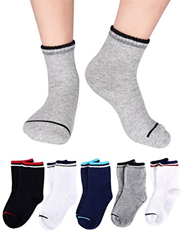 Kids Youth Preschool Boys and Girls Striped Athletic Crew Quarter Basic Socks Cotton Seamless Cushion for Sports Running 5/10 Pair Pack (10 Pairs/3-5 years old)