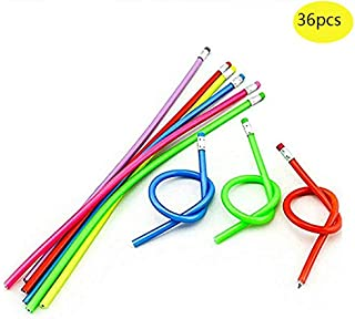 Haawooky 36 Pcs Colorful Magic Bendy Flexible Soft Pencil with Eraser Kids Children School Fun Equipment