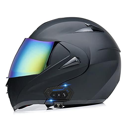 TKTTBD Casco De Moto Modular Bluetooth Integrado con Doble Anti Niebla Visera Cascos De Motocicleta ECE Homologado Auriculares con Dos Bocinas, Contestador Automático con Manos Libres K,M