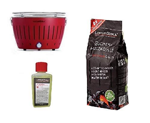 LotusGrill -NUOVO MODELLO 2019 - Barbecue Rosso con Batterie e Cavo di Alimentazione USB + 1Kg di Carbonella di Faggio + Gel Combustibile Inodore per Barbecue - Bundle Esclusivo Yeseatis!
