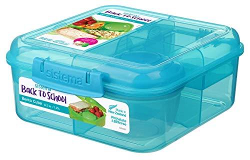 Bento Back to School Cube - 1.25 l + Joghurt Topf - 150 ml. Blau