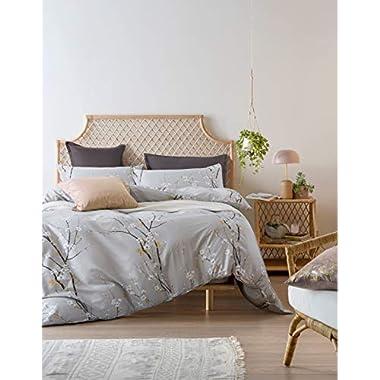 11 Piece Camilo Blue//Gray Bed in a Bag w//500TC Cotton Sheet Set Queen