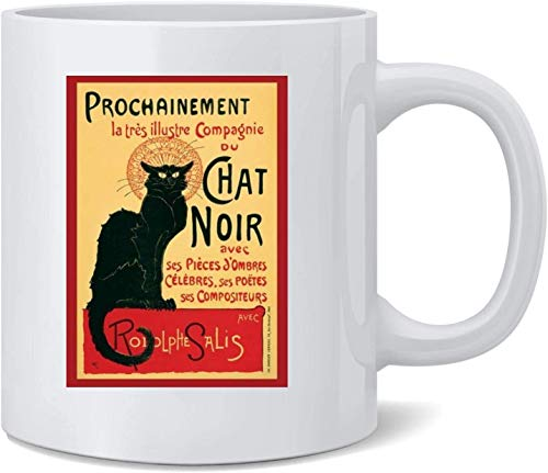N\A Le Chat Noir The Black Cat Paris Art Deco Vintage Taza de café de cerámica Tazas de café Taza de té Regalo Divertido y novedoso