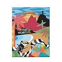 BGGGTD ポスター 壁アートキャンバス絵画抽象ブラジルポスターとプリントキャンバス用リビングルーム漫画壁画モダンルーム家の装飾プリント-50x70cmx1フレームなし