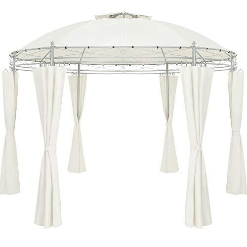 Casaria Tonnelle Toscana Ø 350 cm - Beige - Stable - Hydrofuge - Métal Robuste - Pavillon de Jardin - Tente de réception