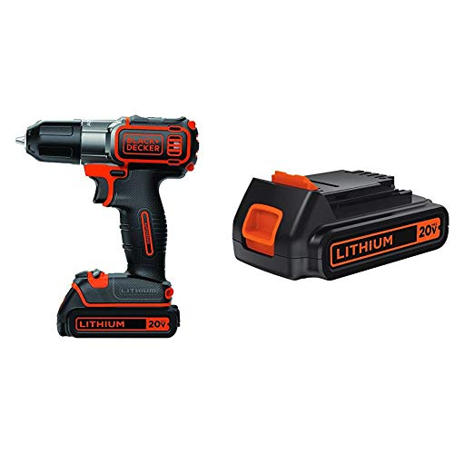 BLACK+DECKER 20V MAX Cordless Drill/Driver with Extra 1.5-Ah Lithium Battery (BDCDE120C & LBXR20)