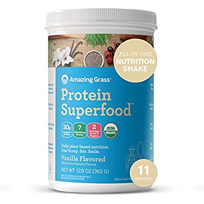 Amazing Grass Protein Superfood: Vegan Protein Powder, All in One Nutrition Shake, Pure Vanilla, 11 Servings