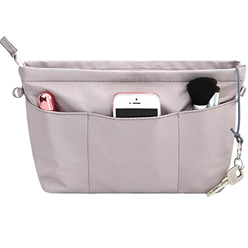 SHINGONE Handtaschen Organizer mit Schlüsselbund Taschenorganizer Wasserdicht, Innentaschen Fuer Handtaschen Organizer, Kosmetik Organizer mit Reißverschluss Grau -M