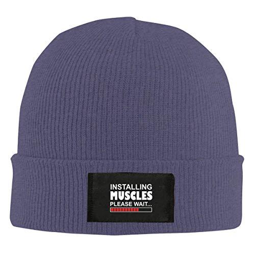 Voxpkrs Installing Muscles Please Wait Top Level Beanie Men Women - Unisex Stylish Slouch Beanie Hats Black