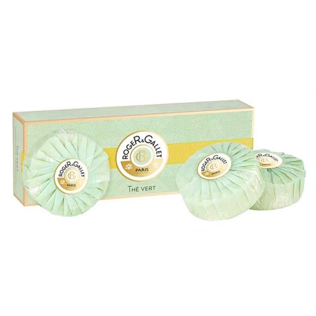 内部リテラシー独裁ロジェガレ グリーンティー (オーデ テ ヴェール) 香水石鹸3個セット ROGER&GALLET EAU DE THE VERT (GREEN TEA) SOAP [並行輸入品]