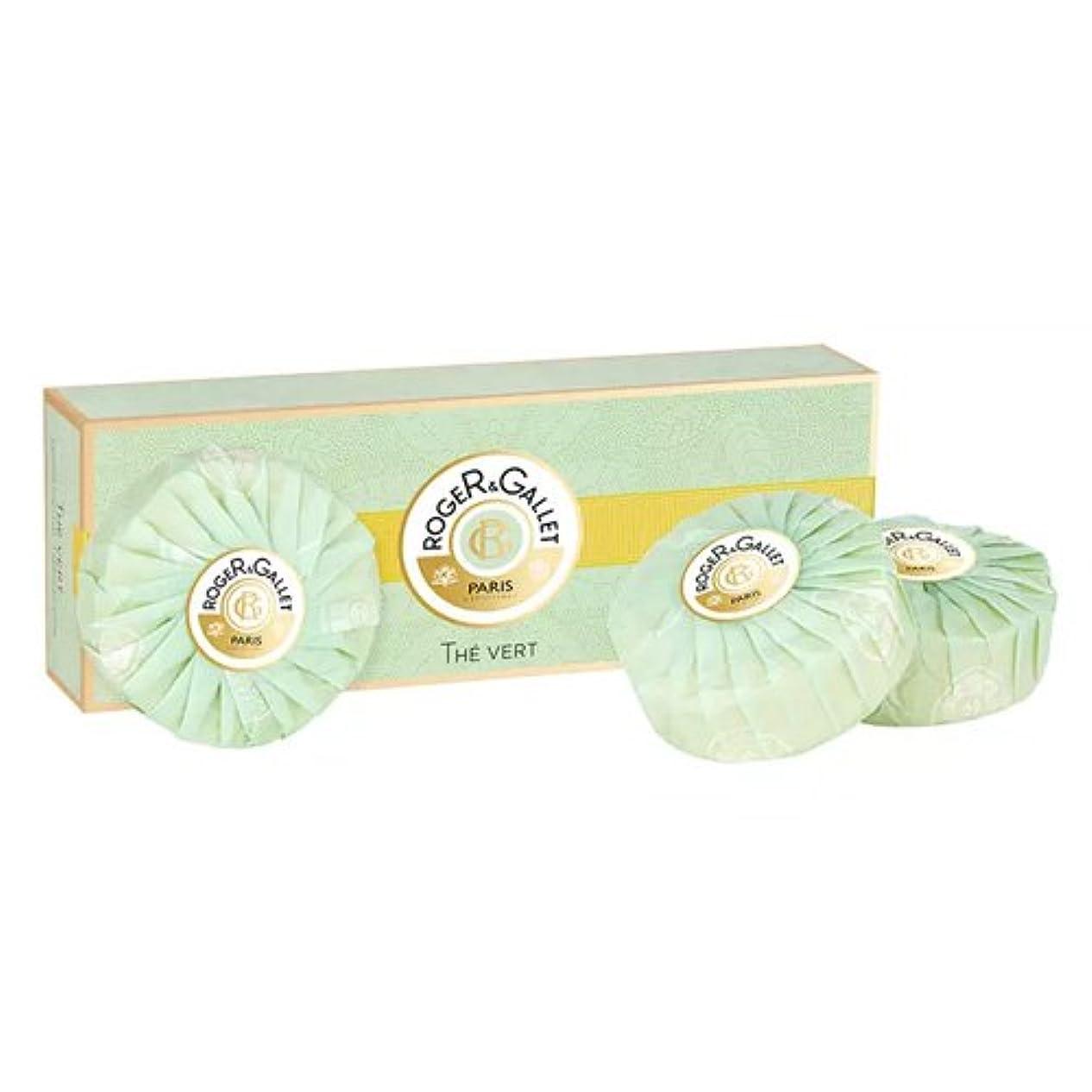 阻害するかわすサイズロジェガレ グリーンティー (オーデ テ ヴェール) 香水石鹸3個セット ROGER&GALLET EAU DE THE VERT (GREEN TEA) SOAP [並行輸入品]