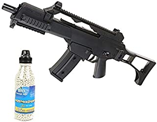 well Airsoft Pack G36C Rifle de Asalto eléctrico, Botella de 2000 Bolas ofrecidas (0.4 Julios)