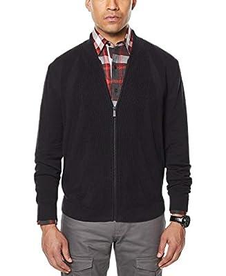 Sean John Mens Ribbed Cardigan Sweater, Black, XXX-Large by Sean John