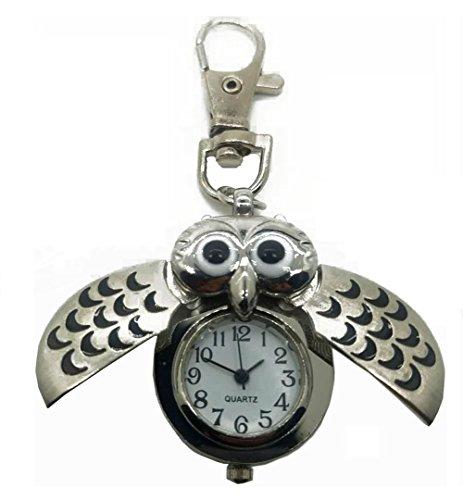 nanhong Mini Schlüssel Ring Eule Quarzuhr Uhr Käfer Schlüsselanhänger watche- Silber