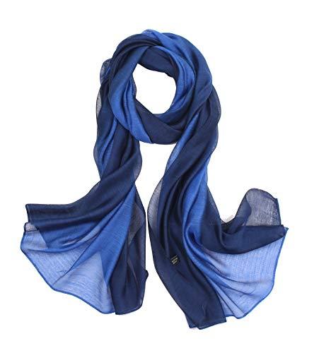 Elegant stillvoll Seide Halstuch Stola Schal Farbverlauf Geschenk Freundin Damen-Blau-195*70cm