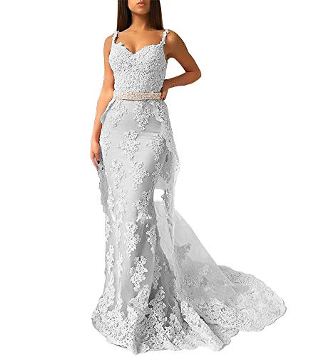 Sweet Bridal Women's Mermaid Lace Appliques Long Prom Dresses with Detachable Skirt Evening Gowns A-Silver US6