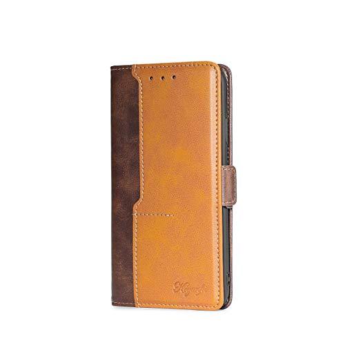 VGANA Funda Compatible con Samsung Galaxy F62, Cartera con Carcasa de Cuero de Primera Calidad con Tapa Colores Contraste. Marrón + Amarillo