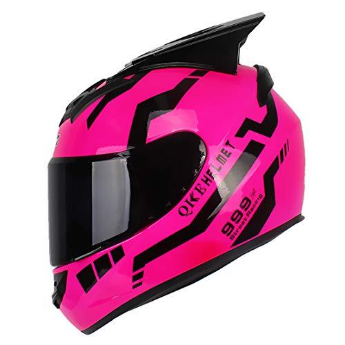ATK Motorradhelm Vollverdeckter Helm mit Sonnenblende Herausnehmbares Futter Einfach zu Säubern zum Männer und Frauen,Pink