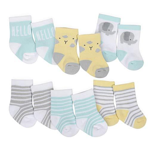 Gerber Baby 6-Pair Wiggle Proof Sock, Elephant Dream, 0-3 Months