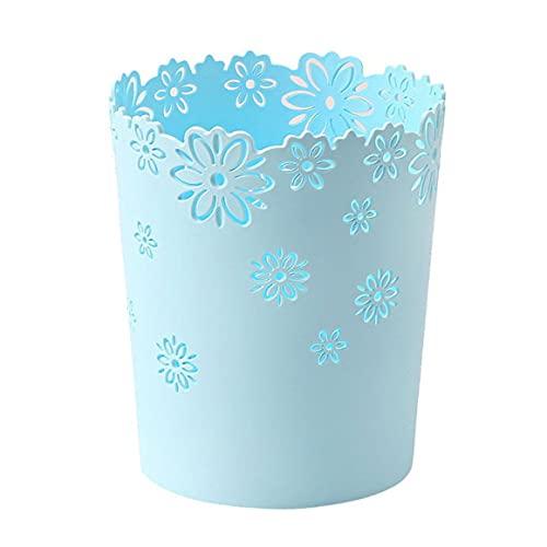 Haushalt Küche Wohnzimmer Schlafzimmer Mülleimer Lilie Runder Papierkorb Deckelloser Mülleimer Haushalt Plastikbox - Blau 15,5*22,5*19Cm