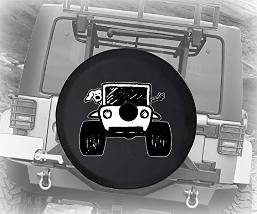 Driving with The Dog 4x4 Off Road Vehicle for Rough Terrain Adventure Animal Lovers JL Spare Tire Cover with Backup Camera Hole BUC (Fits: Jeep JL Accessories) Black Size 32 Inch