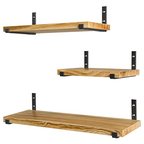 HOSOM Wall Mounted Floating Shelves , Rustic Wood Storage Shelves for Living Room, Bedroom and Kitchen, Set of 3