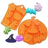 MEZHEN Halloween Stampi in Silicone Zucca Stampi Caramelle Pipistrello Stampi per Cioccolato Teschio Torte Dolci Stampi 2 Pezzi