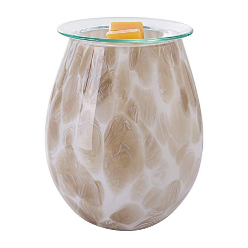 COOSA Art Glass Wax Melt Warmer,Electric Candle Warmer,Fragrance Night Light,Ideal for Home Office Aromatherapy (Light Brown)