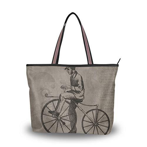 LORONA Damen Vintage Steampunk Fahrrad Patent Leinwand Schulter Handtasche Large Capacity Einkaufstasche