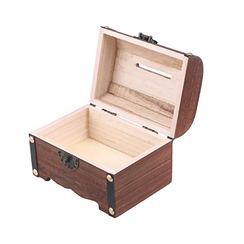BESPORTBLE Wooden Treasure Chest Storage Box Retro Money Box Piggy Bank with Lock and Keys, Storage Box for Keepsakes, Money, Jewelry, Toy Treasures