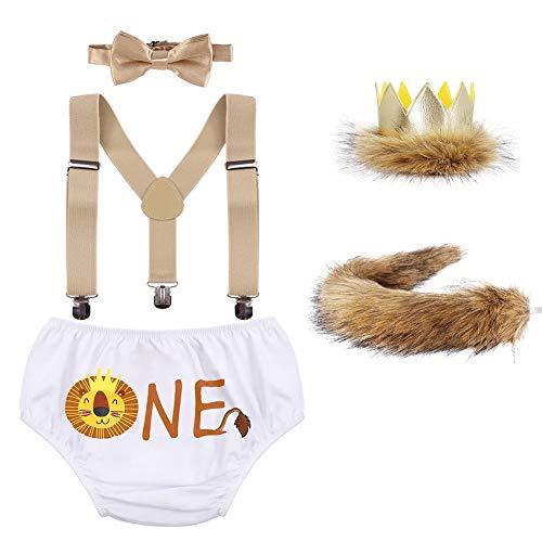 IBAKOM Disfraz de cumpleaños para bebé, disfraz de león, pantalón corto + tirantes + pajarita + cola de peluche + corona de piel sintética + 5 piezas, 10, 3-24 meses