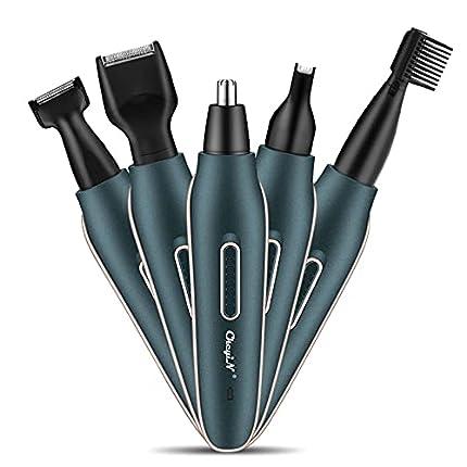 CkeyiN Afeitadora Eléctrica para Mujer, Kit de recortador de pelo eléctrico Recortadores de pelo para nariz y orejas, 5 en 1, recargable, portátil, kit de cuidado del vello facial