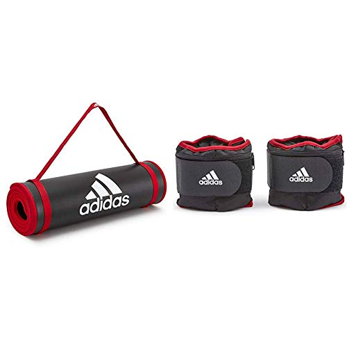 adidas Tappetino Fitness - Nero, 10 mm & Pesi Regolabili per Caviglia/Polso - 1 kg